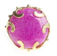 Amazon.com: 24K Yellow Gold Plated Hot Pink Agate Natural Stone Antique Floral Filigree Design Adjustable Ring: Bahar Erdim: Jewelry