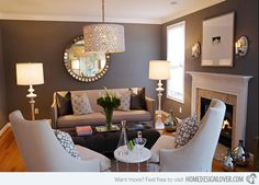 Possible wall color -- looks pretty with the white trim. Love that light fixture too!