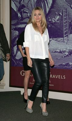 leather legging look with white button down...