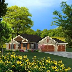 House Plan 96156   Ranch Plan with 2092 Sq. Ft., 3 Bedrooms, 2 Bathrooms, 3 Car Garage