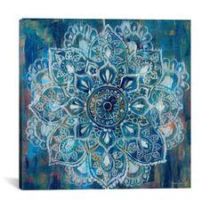 Mandala in Blue II by Danhui Nai Canvas Print 18 x 18 - iCanvas Gender: Unisex. Mandala in Blue II by Danhui Nai Canvas Print 18 x 18 - iCanvas Canvas Artwork, Canvas Art Prints, Canvas Frame, Wall Canvas, Painting Prints, Canvas Size, Big Canvas, Art Paintings, Frida Art