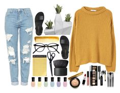 """pop of yellooow"" by haijflxforever ❤ liked on Polyvore featuring MANGO, Topshop, Hermès, Rifle Paper Co, NARS Cosmetics, HAY, Deborah Lippmann, Bobbi Brown Cosmetics and Illamasqua"