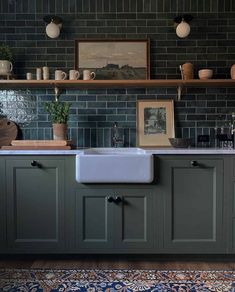 The Fresh Appeal of Green Cabinets - Classic Casual Home Tudor Kitchen, New Kitchen, Kitchen Decor, Kitchen Backsplash, Kitchen Cabinets, Classic White Kitchen, Green Cabinets, Best Cleaning Products, Three Floor