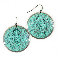 New Patina Verdigris Floral Disk Earrings