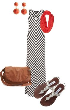 """""""Chevron Maxi with neutral accents"""" by sarahleanneking on Polyvore"""
