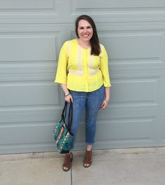 Collective Concepts Macnair Crochet Detail Top and Liverpool Frankie Printed Cropped Jean both from Stitch Fix @stitchfix