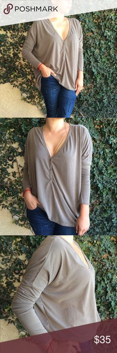 Olive Lounge Tee Super soft lounge tee. Leightweight fall piece! Made in the USA 🇺🇸.  73% Rayon, 27% Polyester. No trades. Price is FIRM, unless bundled. Tops Blouses