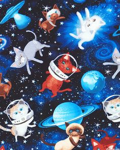 Cats in Space - Quilt Fabrics from www.eQuilter.com