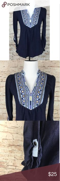 """Akemi + Kin Navy Blue Embellished Tunic Henley Top AKEMI + KIN Anthropologie Navy Embroidered Neck Tunic Henley Top Size S  Measurements:   Armpit to Armpit: 15.5"""" Length: 23"""" Anthropologie Tops Tees - Long Sleeve"""