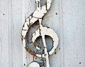 Yellow  G Clef Reclaimed Wood Music Art. $16.00, via Etsy.