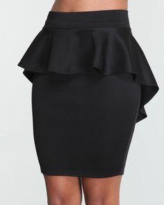 Peplum black skirt - plus size