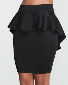 Peplum black skirt - plus size