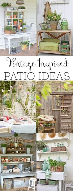 A round-up of the best vintage inspired patio ideas and the common elements used to create those spaces. - CLICK PIN for Lots of Patio Ideas, Patio Furniture and other Perfect Patio Inspiration. Diy Patio, Patio Ideas, Pergola Ideas, Pergola Plans, Porch Ideas, Backyard Ideas, Outdoor Rooms, Outdoor Living, Outdoor Furniture