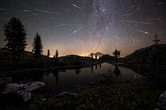 Flash Point  Brad Goldpaint (USA) The Perseid Meteor Shower shoots across the sky in the early hours of 13 August, 2015, appearing to cascade from Mount Shasta in California, USA. The composite image features roughly 65 meteors captured by the photographer between 12:30am and 4:30am. Photograph: Brad Goldpaint/Royal Observatory Greenwich's Astronomy Photographer of the Year 2016/National Maritime Museum