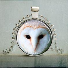 Barn Owl Pendant Owl Necklace Barn Owl Jewelry by backbonestudio2, $8.95