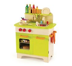 Eco-friendly kids kitchen set. Made from sustainable materials and non-toxic finishes
