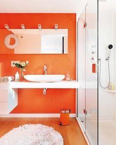 Decoraci n Interior Departamento Peque o y JuvenilBathroom Decorating Ideas  Cheerful Orange Paint and Accessories  . Orange And Grey Bathroom Accessories. Home Design Ideas
