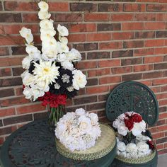 Orchid and Rose Floral Arrangement - Ivory and Red Centerpiece - Wedding Flowers - Home Decor - True Touch Rose Arramgement - pinned by pin4etsy.com