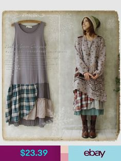 Mori Girl Floral plaid Sleeveless Dress Lagenlook Basis Base skirt Lolita in Clothing, Shoes & Accessories, Women's Clothing, Dresses Altered Couture, Mori Girl Fashion, Diy Fashion, Woman Fashion, Preppy Fashion, Steampunk Fashion, Gothic Fashion, Fashion Styles, Retro Fashion