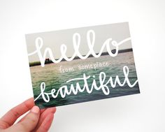 #travel Postcards with Hand-Lettered Calligraphy . Travel Photography . Hello from Someplace Beautiful . Set of 5  via Shopmine, get product recommendations based on people you follow!
