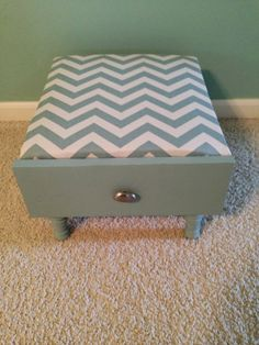Thrifty Treasures- drawer turned footstool with storage.