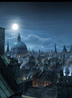 Carmilla's castle window overlooks the city of London, where the full moon beckons her to hunt down the werewolves that lurk in it's darkest and most sinister corners...