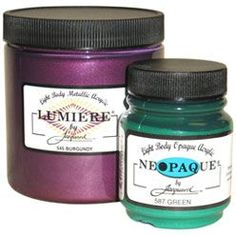Jacquard Lumiere - my most favorite paint ever!  And Dharma Trading and Dickblick.com have the best prices I have found!  I love all Lumiere colors!