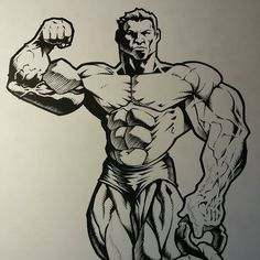 Inks in effect. Bodybuilding Logo, Character Art, Character Design, Best Bodybuilder, Gym Logo, Unique Drawings, Image Comics, Powerlifting, Figure Drawing