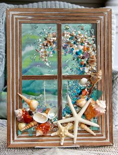 Decor, Window Wall Hanging, Beach Bathroom Decor, Nautical Decor, Be Sea Glass Crafts, Sea Glass Art, Resin Crafts, Resin Art, Seashell Art, Seashell Crafts, Beach Crafts, Beach Cottage Decor, Coastal Decor