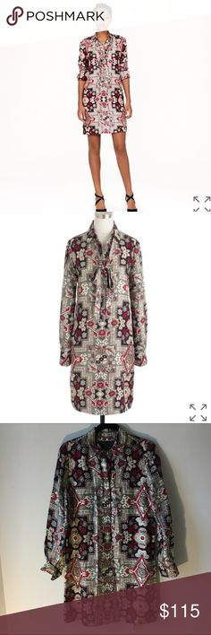J.Crew Collection Italian Spun Silk in Tapestry Worn once for an event, such a beautiful dress! Tag is half way falling off, as shown in photo. J. Crew Dresses Long Sleeve
