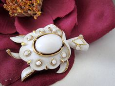Vintage Crown Trifari White Turtle Brooch by VintagObsessions, $35.00
