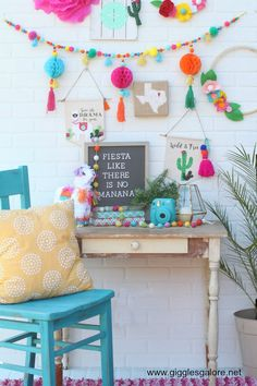 Colorful Fiesta Llama and Cactus Banners made with Cricut Maker 21st Decorations, Fiesta Theme Party, Llama Birthday, Mexican Party, 2nd Birthday Parties, Diy Party, Party Ideas, Party Time, First Birthdays
