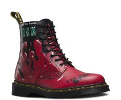 Dr Martens 8 Eyelet Black Red Demented Are Go Pascal Boot - Great fashion boots for trendy hipster punk styles buy Doc Martens at Vixens and Angels. Doc Martens Stiefel, Botas Dr Martens, Red Doc Martens, Doc Martens Boots, Rockabilly Shoes, Psychobilly, Mode Grunge, Punk Shoes, Gladiator Boots