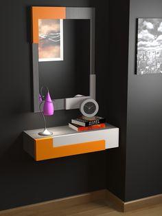 Recibidor a medida moderno, acabado mixto lacado, color a elegir y chapa de madera natural. onlinemuebles.com