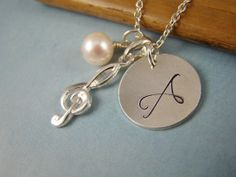 Personalized Clef Charm Necklace Musical Symbol Necklace by ShinyLittleBlessings, $36.00