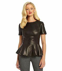 Antonio Melani Ward Leather Peplum Blouse #Dillards