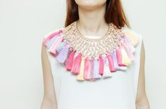 FLOWER RAIN/ Woven leather & Dyed tassel statement tribal necklace - Ready to Ship