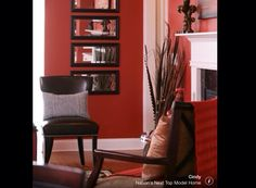 coral red and white living room with black details.I want red walls Coral Living Rooms, Living Room Red, Eclectic Living Room, Living Room Decor, Dining Room, Living Room Interior, Interior Design Living Room, Living Room Designs, Modern Interior