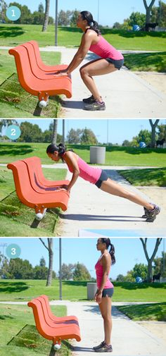 Squat thrusts, 6 Strength Training Moves You Can Do with a Park Bench Park Workout, Step Workout, Post Pregnancy Workout, Heath And Fitness, Keep Fit, Outdoor Workouts, Fitness Inspiration, Motivation Inspiration, Exercises