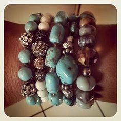 My turquoise arm party