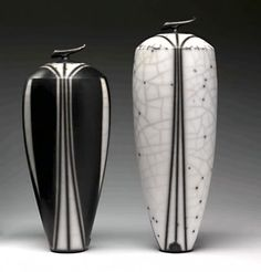 Tim Andrews is a ceramic artist with an International reputation. He makes distinctive individual raku and porcelain work (from £100-($159.00) to £5000 ($7956.00)). The pieces are often burnished black and white with linear decoration or muted coloured slips. Recent pieces combine raku, stoneware and porcelain elements. -Black and White raku vessels