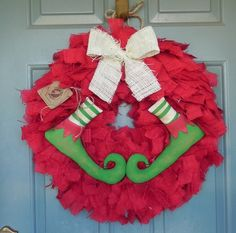 burlap christmas wreath | Burlap Christmas Wreath with Elf Shoes- WHITE BOW - holiday wreath ...