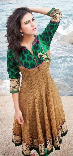 Green and Brown Cotton Jacquard Anarkali Salwar Kameez 26619