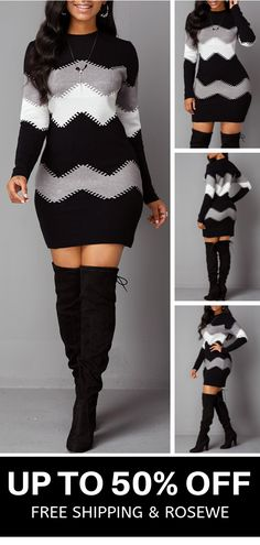 Hot Sale & Mock Neck Long Sleeve Chevron Pattern Sweater Dress - Source by - Pretty Dresses, Beautiful Dresses, Looks Kim Kardashian, Sweater Dress Outfit, Outfits Dress, Sweater Dresses, Trendy Outfits, Cute Outfits, Fashion Looks