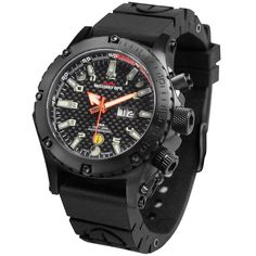 The Stealth Mission Illumination Watch - Hammacher Schlemmer - In emergency situations, the LEDs can be set to flash as a strobe that is visible from up to a mile away. When stealth is desired, a UV light can be set to shine continuously or flash on briefly to illuminate the carbon fiber dial. Only 3,000 produced.
