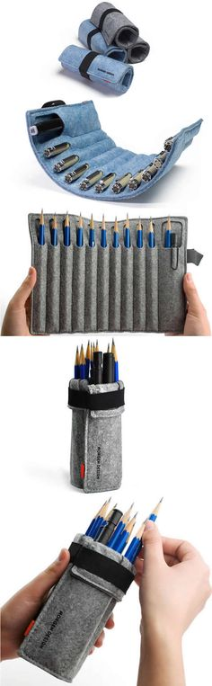 Wool Felt Roll Up Style Pen Pencil Case