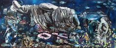 Atoche, Quo Vadis Marina Fish Blues I, oleo su tela, 370 x 140 cm, 2013