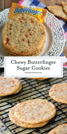 These soft, Zart, Butterfinger Sugar Cookies are a great way to incorporate a delicious classic, Butterfinger non.your baking. Informationen zu Chewy Butterfinger Sugar Cookies - A Sweet Treat! Chocolate Cookie Recipes, Easy Cookie Recipes, Sweet Recipes, Baking Recipes, Chocolate Chips, Bread Recipes, Cookies Cupcake, Yummy Cookies, Cupcakes