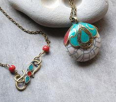 White Necklace Turquoise Red Coral Pendant by LaughingDogStudio, $33.50