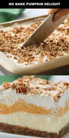 Instead of pumpkin pie, try this easy pumpkin delight recipe instead! A homemade pecan and graham cracker mix forms a delicious crust that is topped with three layers of light and fluffy filling -- including cream cheese, pumpkin, pudding and Cool Whip. Thanksgiving Desserts, Fall Desserts, Just Desserts, Delicious Desserts, Dessert Recipes, Pumpkin Delight Dessert Recipe, Pumpkin Dessert, Baked Pumpkin, Pumpkin Recipes